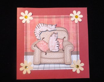Cute cat and recliner friendship card