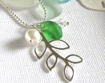 Green Sea Glass Leaf Necklace