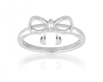 Solid 925 Sterling Silver Bow Ring Hot trend Best Gift
