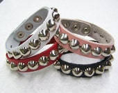 "Set of 4 Cuffs 3/4"" - 19mm Wide Genuine Leather studded Wristband with single rows 1/2"" US/77 Cone studs bracelet Rock Black Red Pink White"