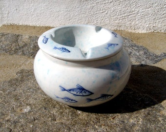 ash tray white with blue green fish decoration