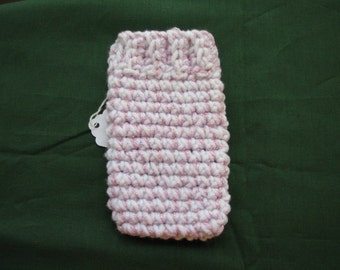 Crocheted White Purple Sparkle Cell Phone Cozy