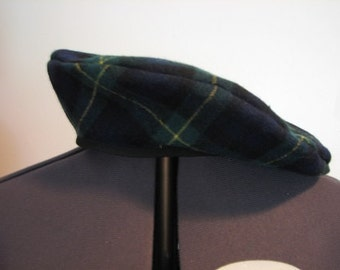 Medieval Renaissance Celtic Navy Green Plaid Wool French Italian Beret Cap Hat