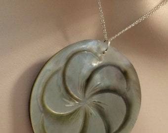 Flower Power .Sterling Silver Carved Mother of pearl Multi chain necklace