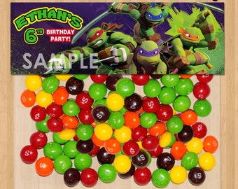 TMNT Favor Bag Toppers - Personalized Printable for Treat or Candy Bags - matches Teenage Mutant Ninja Turtles Birthday Party Invitation