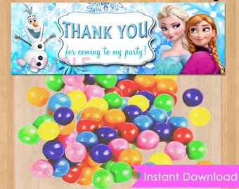 Frozen Favor Bag Toppers - INSTANT DOWNLOAD Disney Frozen Birthday Printable for Party Treat Candy Loot Bags matches Invitation Elsa Anna