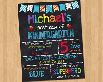 First Day of School Chalkboard Sign - First Day of School Printable Sign Photo Prop - Personalized Back to School Blue - ANY GRADE Any Age