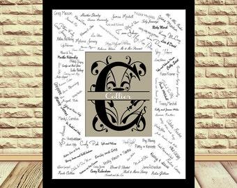 Alternative 10th Wedding Anniversary Gifts : wedding guest book signature alternative wedding monogram guest book ...