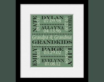 Gift for Grandparents, Grandkids Names and Birthdate Print,  Personalized Grandparent Gift, Grandparents Day, Christmas Gift