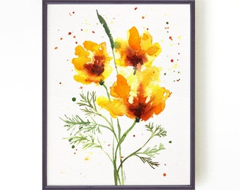 California poppy #2, Floral Watercolor painting, Botanical print, Apartment decor, Wall decor, Home decor, Wall art, Yellow Buy 2 Get 1 FREE