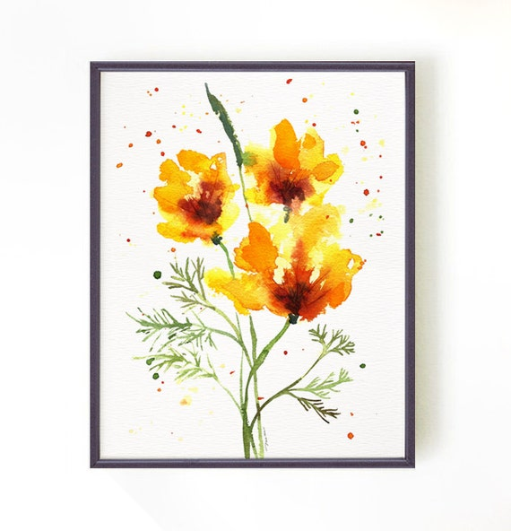 Items similar to California poppy #2, Floral Watercolor ...