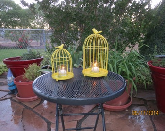 Wire bird cage set, Two Vintage Bird cages, Shabby Chic Bird cage, French Country Candle holder, French Country Bird Cage