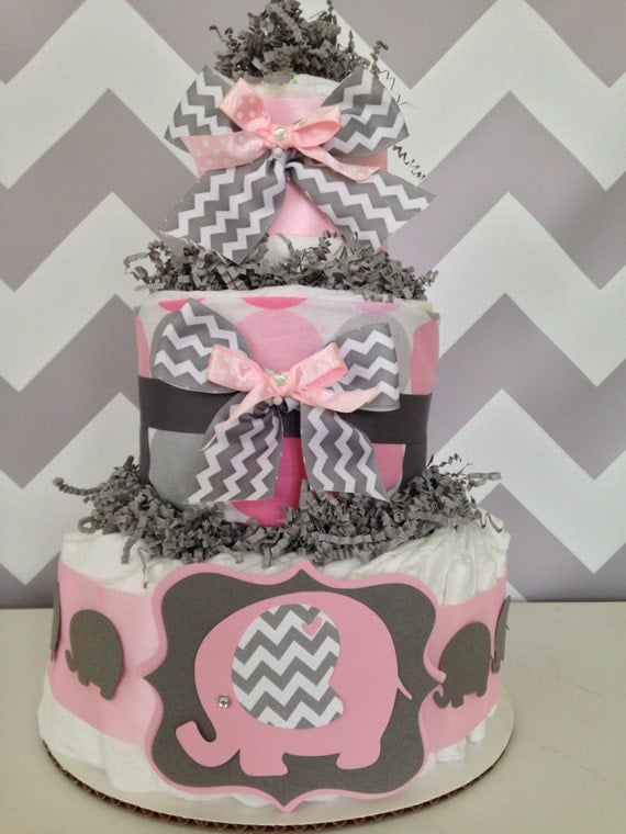 Chevron Elephant Baby Shower Diaper Cake Pink And Gray