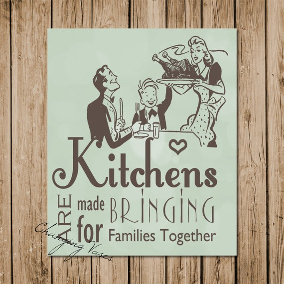 Retro Kitchen Wall Decor: Items Similar To Printable Wall Decor