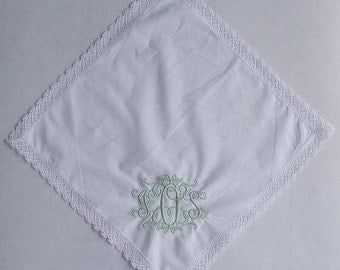 Monogrammed Handkerchief/Park Avenue Style/Wedding/Bride/Monogram/Mother of the Bride/Mother of the Groom/Piano Recital Handkerchief/