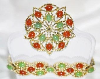 Signed Sarah Coventry Alcupolco Brooch Bracelet Vintage Set