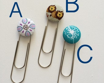 Bookmark Fabric Covered Custom Button Large Paperclip