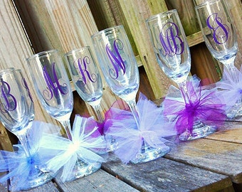 Bridal Party Champagne Glass; Bride Glass; Bridesmaids; Champagne Glass; Bride