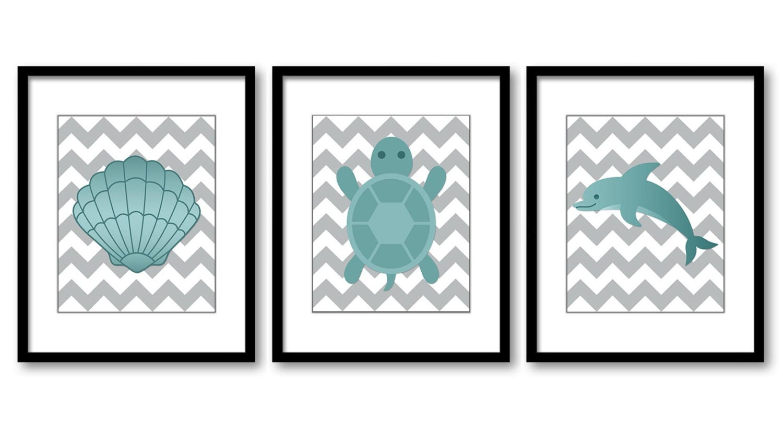 Teal Sea Animals Green Nursery Art Nursery Print Baby Art Print Set of 3 Turtle Dolphin Sea Shell Bo