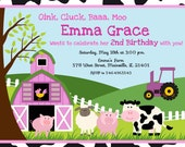 Farm Girl  Birthday Party Invitation - Digital File