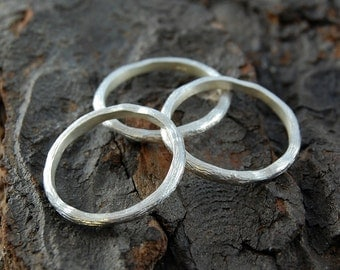 Silver Stacking Ring, Textured Silver Ring, Boho Ring, Stackable Silver Ring, Rustic Ring, Organic Ring, Bohemian Ring, Stacking Ring Set