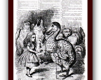 Alice in Wonderland Poster Wall Art Home Decor  Art Print:1 upcycled dictionary pages  musical Notes Art Print