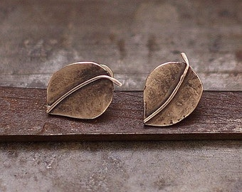 SALE 10 - 20 % OFF use the code • Leaf stud Earrings • Oxidized Sterling Silver • 925 Sterling Silver Post  Leaf Studs Small Post