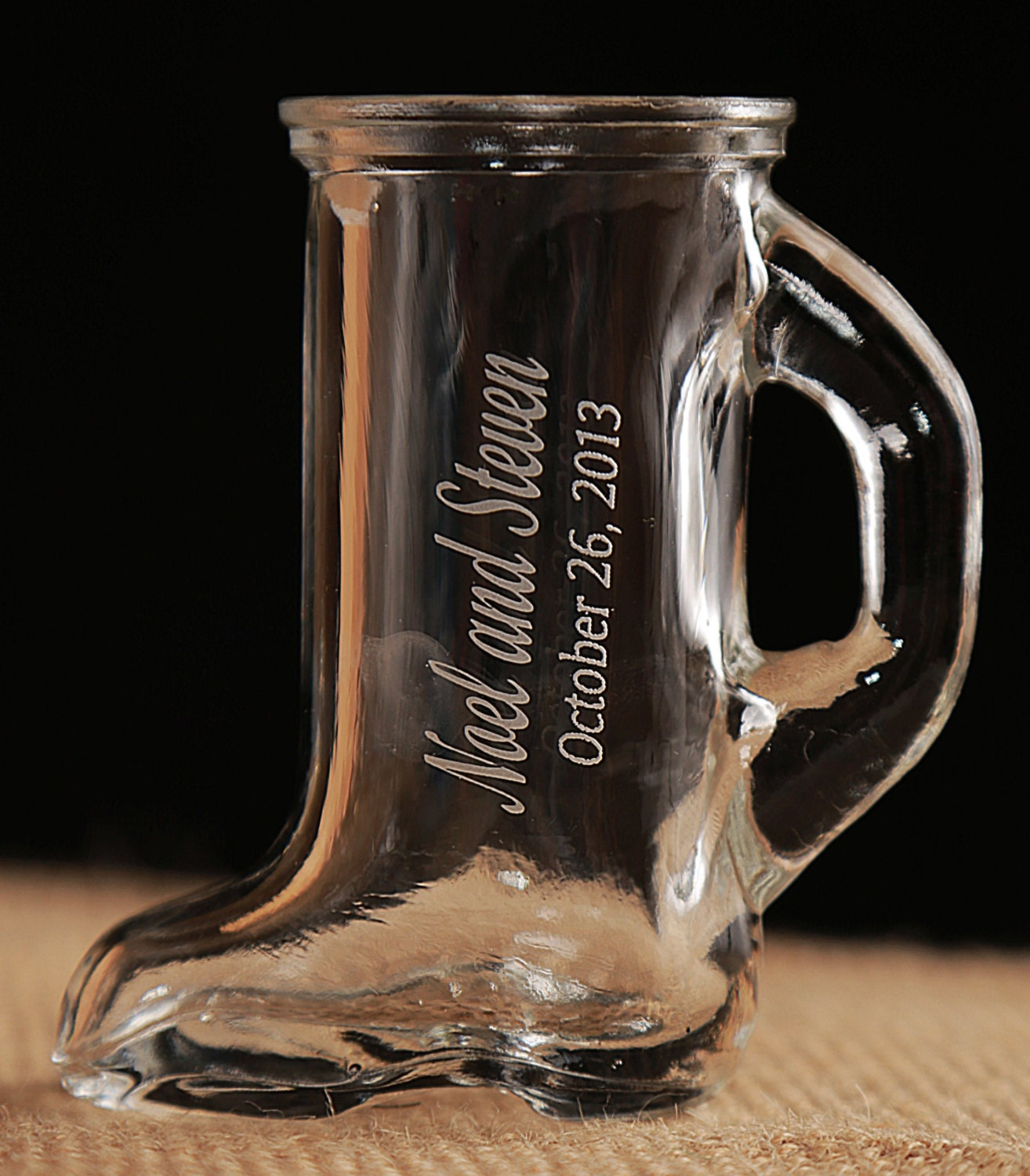 Wedding Gifts Engraved Glasses : Boot Shot Glasses Six 1.5 oz Engraved Wedding Favors