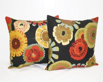 Decorative 16X16 Black Foral Pillow Cover Throw Pillow