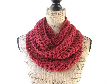 Infinity Scarf Cranberry Dark Red Cowl Scarf Fall Winter Women's Accessory Infinity