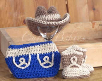 Newborn Baby Crochet Cowboy/ Cowgirl Hat, Boots & Diaper Cover Photo Prop. 0-3, 3-6m