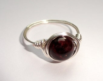 Garnet wire wrapped ring, Silver wire wrapped ring with garnet gemstone, Gemstone ring, Garnet stone ring