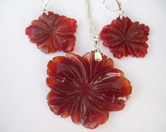 Sale! Was 29.95 Carnelian Carved Flower Pendant and Earring Set - Sterling