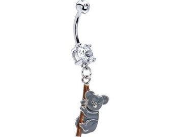 Cute KOALA Clear Gems Navel Piercing Belly Button Ring - 14 gauge Stainless Steel Body Jewelry