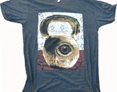 Crossfit Men Athletic Shirt with all Seeing Kettlebell.  Athletic fit with fine art quality print.