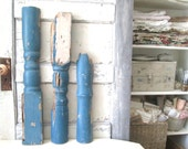Deconstructed French Blue Vintage Wood Architectural Salvage Porch Support Sections