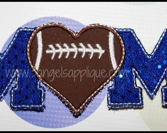 Heart Football MOM applique design 3 sizes INSTANT DOWNLOAD