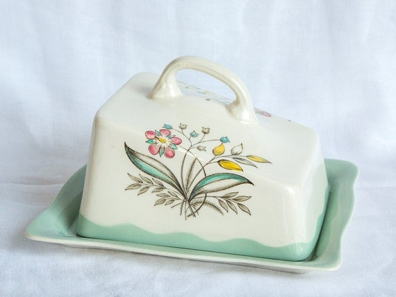 Vintage butter dish by Clarice Cliff for Royal Staffordshire