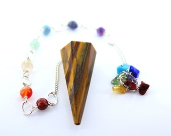 Tiger Eye Faceted Pendulum With Chakra Chain