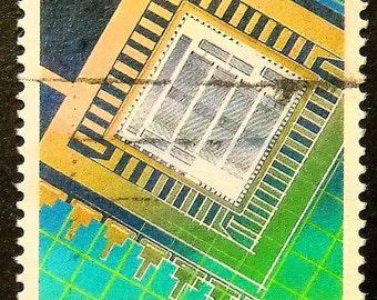 Microchips Computer Technology -Handmade Framed Postage Stamp Art 15573