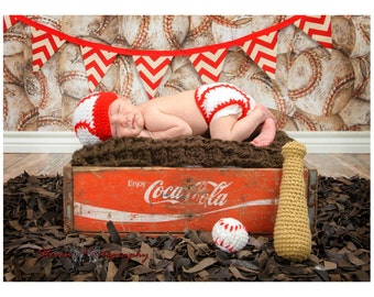 Crochet Baseball Beanie and Diaper Cover set- Includes Bat and Ball/ PhotoProp/ Made to Order