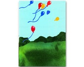 Birthday Balloons - Childhood Memories - Birthday Card, Invitation or Frame-able Print - Child's Room Decor (CMEM2013010)