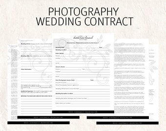 Wedding Photography contract black business forms floral camera editable templates - 5 psd files supplied