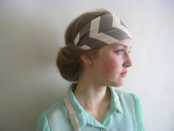 Boho Headband in Sand/Taupe Chevron Stripe- Teen Accessory, Hair Band, Bohemian, Wedding, Yoga Headband, Hippie
