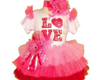 Valentines Day Tutu Set . LOVE Pink Daisy Valentine Tutu Set
