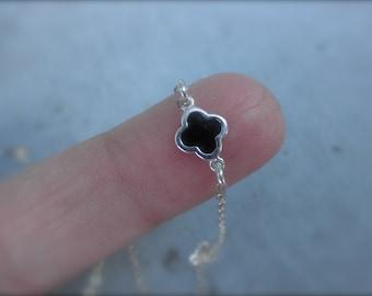 Tiny enamel clover bracelet sterling silver