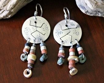 Free-Spirited 'Dancer' Earrings - Pierced Ears / Silver & Beads / Vintage Hand-Crafted Artisan Boho Jewelry