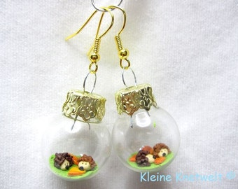 Hedgehog earrings fashion jewelry glass ball ornament