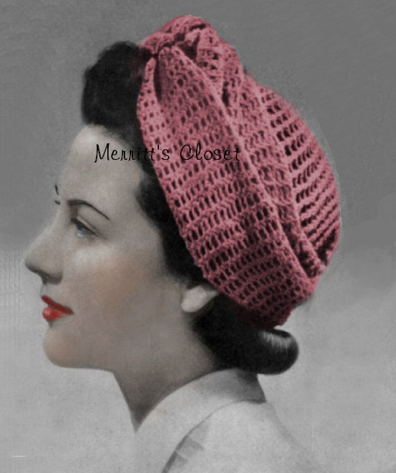 Knitted Head Scarf Pattern : Turban Wrap Head Scarf 1940s Wartime Vintage Pattern