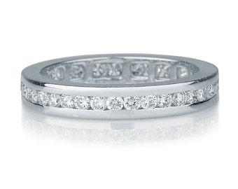 Channel Set Wedding Band, 14K White Gold Wedding Ring, 1 TCW Diamond Wedding Band, Channel Set Ring, Womens Wedding Band